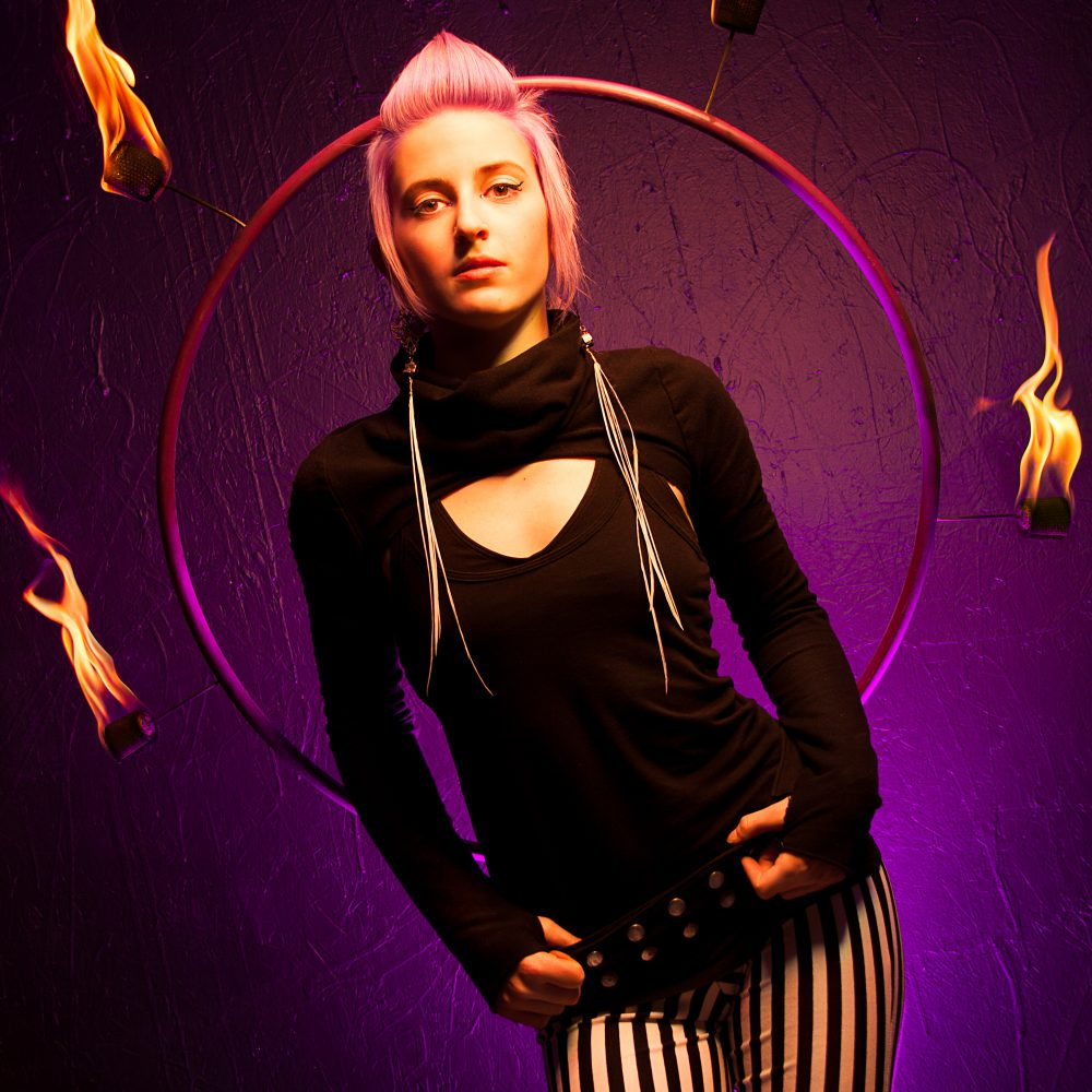 Circus Performer, Small Business Owner, Headshot, Detroit, Fire, Pyro, Fire Hoop, Creative Lighting, Studio, Seamstress